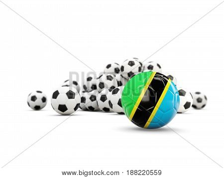 Football With Flag Of Tanzania Isolated On White
