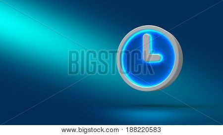 Clock On Blue Background. 3D Illustration. Set For Design Presentations.