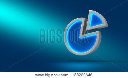 Diagram On Blue Background. 3D Illustration. Set For Design Presentations.