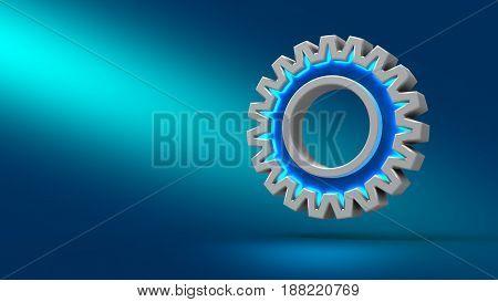 Gear On Blue Background. 3D Illustration. Set For Design Presentations.