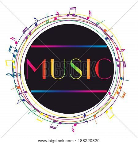 Music art logo. Street graphic style Music. Fashion stylish print.  Handwritten banner, logo or label. Colorful hand drawn phrase
