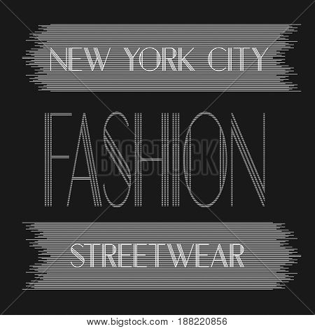New York city art. Street graphic style NYC. Fashion stylish print. Handwritten banner, logo or label.