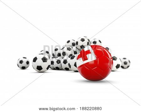 Football With Flag Of Tonga Isolated On White