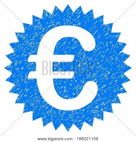 Grunge Euro Warranty Stamp icon with grunge design and dust texture. Unclean vector blue pictogram for rubber seal stamp imitations and watermarks. Draft emblem symbol.