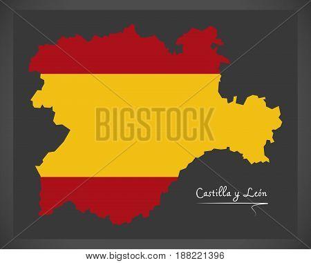 Castilla Y Leon Map With Spanish National Flag Illustration