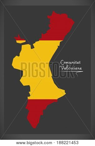Comunitat Valenciana Map With Spanish National Flag Illustration