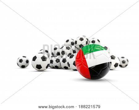 Football With Flag Of United Arab Emirates Isolated On White