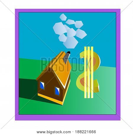 Real estate in the form of a house inside the framework with a smoking chimney and a money icon.