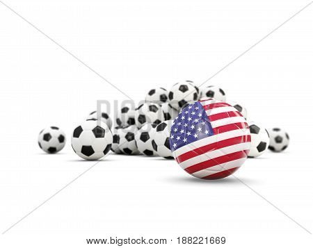 Football With Flag Of United States Of America Isolated On White