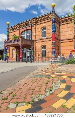 UELZEN, GERMANY - MAY 21, 2017: Train station of the German city Uelzen designed by architect Hundertwasser