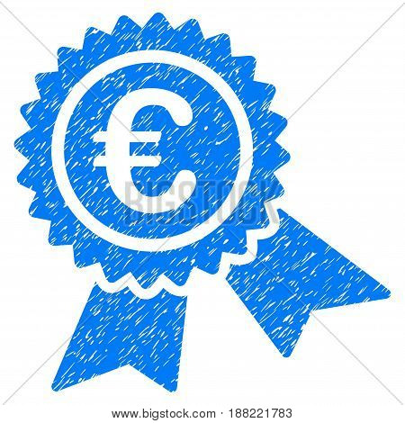 Grunge European Guarantee Seal icon with grunge design and dust texture. Unclean vector blue pictogram for rubber seal stamp imitations and watermarks. Draft sticker symbol.