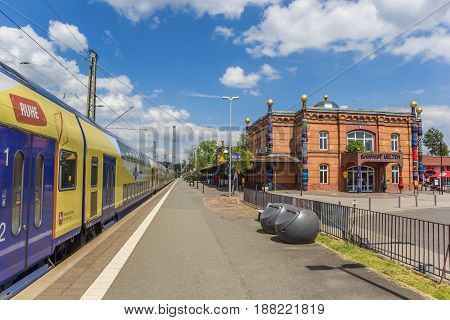 UELZEN, GERMANY - MAY 21, 2017: Train at the platform of the railway station in Uelzen, Germany