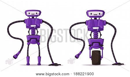 Robot cleaner character. Technology, future. Cartoon vector illustration. Vintage style Evolution of technologies