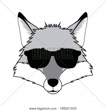 fashion portrait of fox hipster isolated on white