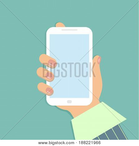 A mobile phone in the female`s hand. A smartphone in businesswoman`s hand. A sleeve of green shirt and a striped suit. Red nails. Vector illustration.