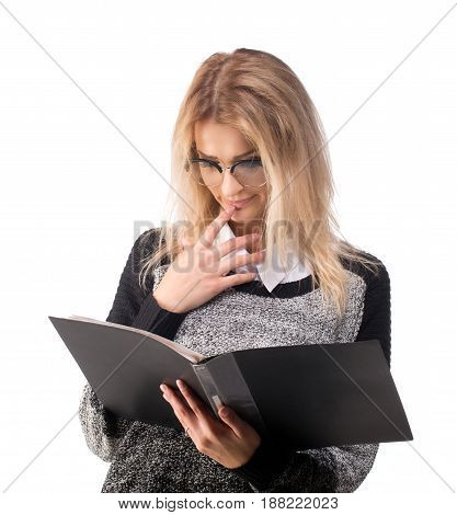 Woman looking in folder with documents with an interest and curiosity.