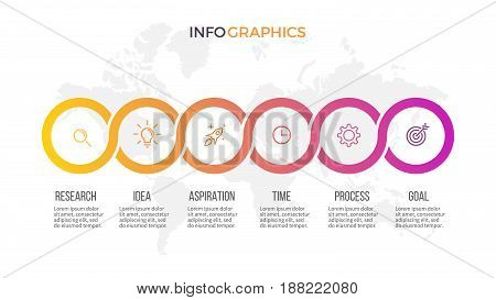 Business infographics. Presentation with 6 steps, circles. Vector template.