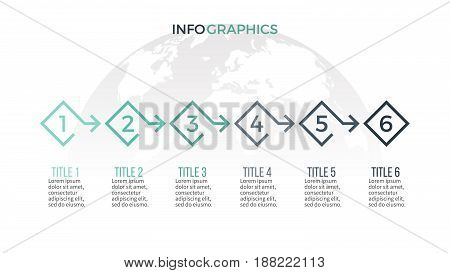 Business infographics. Timeline with 6 steps, arrows. Vector template.