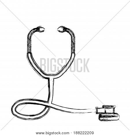 figure medical stethoscope to check cardiac heartbeat, vector illustration