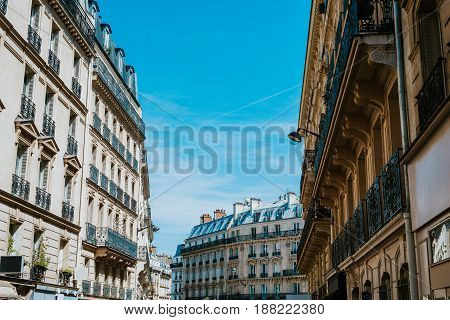 Typical buildings in Paris with gray rooftops