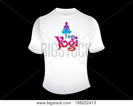artistic i am yogi white tshirt vector illustration