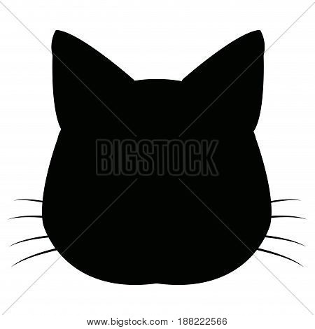 silhuette cat feline head whiskers image vector illustration