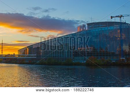 EU parliament building with sky and clouds above. Strasbourg, France.