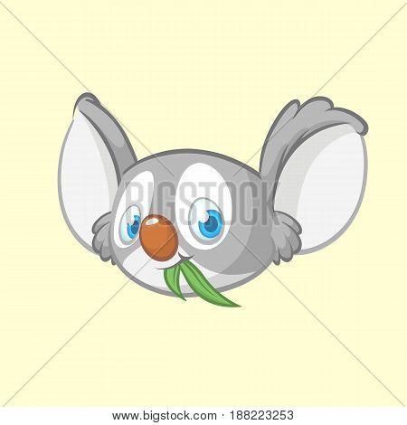 Cartoon koala head icon. Vector illustration of cute koala face with leaf of eucalyptus tree