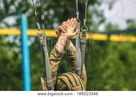 Army soldier paratrooper training jump from parachute