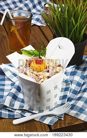 Carbonara With Salmon In A Box For Fast Food, Pasta With Meat.