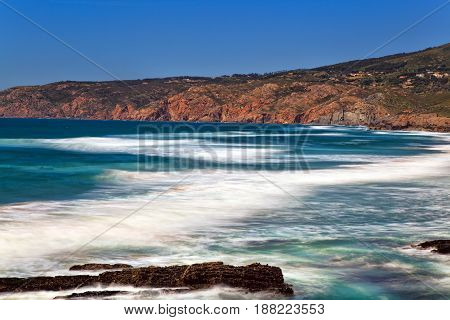 Cliffs and rocks on the Atlantic ocean coast in Sintra . Portugal
