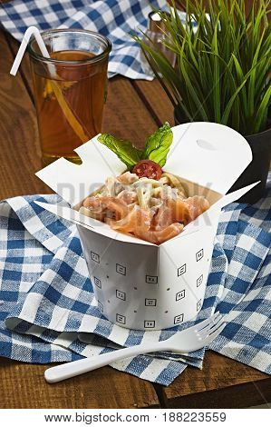 Carbonara With Salmon In A Box For Fast Food, Pasta With Fich.