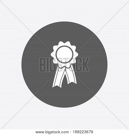 Badge with ribbons icon. Award rosette with ribbon simbol.