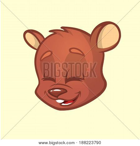 Cartoon bear head. Vector illustration of brown smiling bear. Bear icon