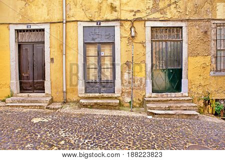 Lisbon old facade detail of an old street portugal tourism