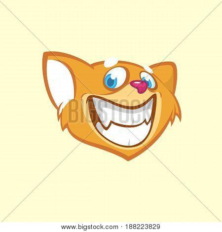Cartoon chipmunk head. Vector illustration of brown smiling chipmunk icon