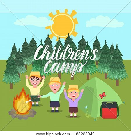 Inscription Children's Camp. A girl and boys greeting waving their hands and smiling. Forest background with a bonfire and a tent. Vector illustration.