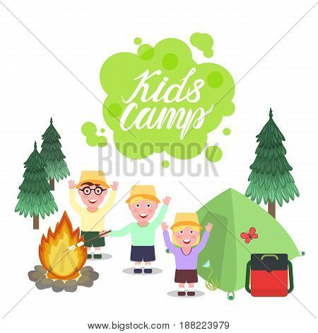 Inscription Kids Camp. A girl and boys greeting waving their hands and smiling. Forest background with a bonfire and a tent. Vector illustration isolated on white background.