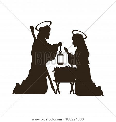 black silhouette nativity scene catholic vector illustration