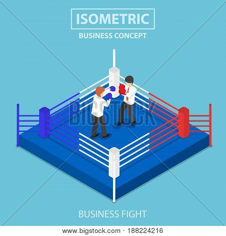 Isometric Businessmen Fighting On Boxing Ring