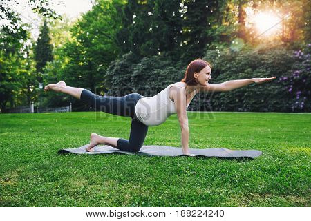 Beautiful Pregnant Woman Doing Prenatal Yoga On Nature Outdoors.