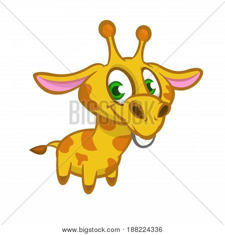 Cartoon giraffe. Vector illustration of funny cute giraffe