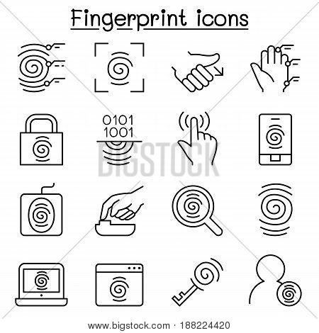 Fingerprint icon set in thin line style