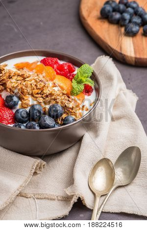 Yogurt With Baked Granola And Berries