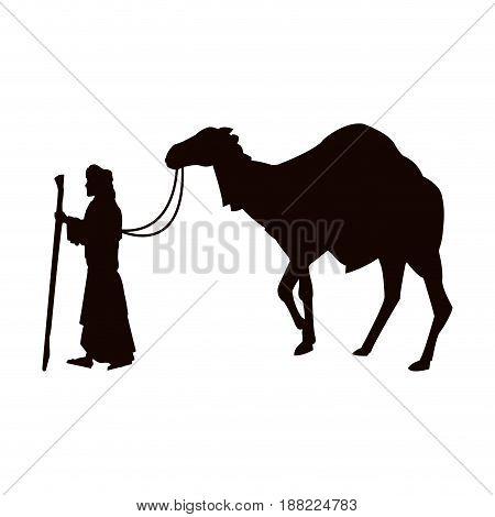 christmas scene joseph with camel manger vector illustration