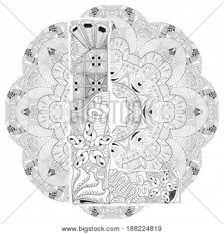 Hand-painted art design. Adult anti-stress coloring page. Black and white hand drawn illustration mandala with letter L for coloring book
