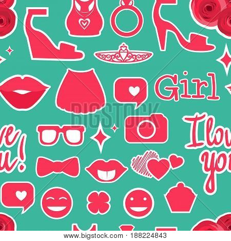 Female interests are symbols. Seamless pattern background. Colored Vector illustration.