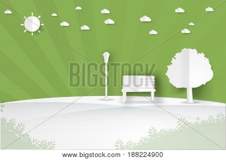 minimalist landscape public park in the city with treesuncloud landscape background paper art style vector illustration.