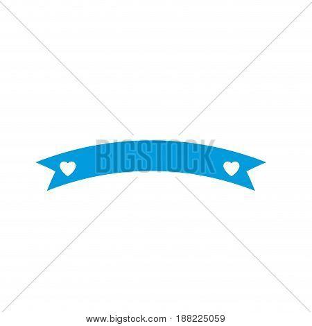 ribbon banner heart decoration paper element icon vector illustration