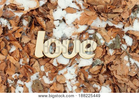 Wooden love sign outdoor on the ground with yellow leaves and snow. Fall concept. Top view. Flat lay
